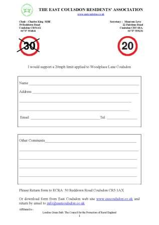 Form: Should Woodplace Lane Have A 20mph Speed Limit?
